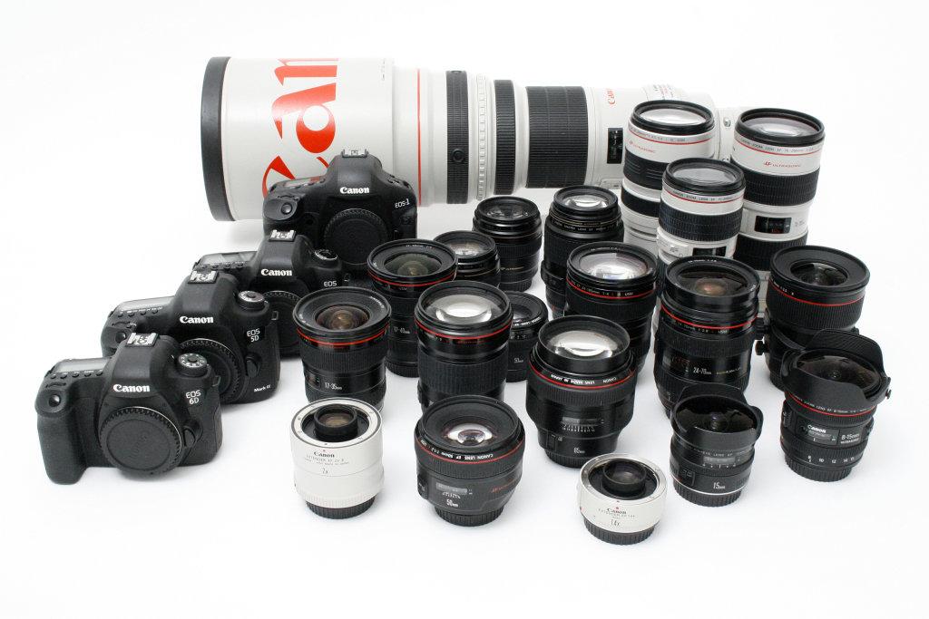 Verschiedene Objektive und Kameras