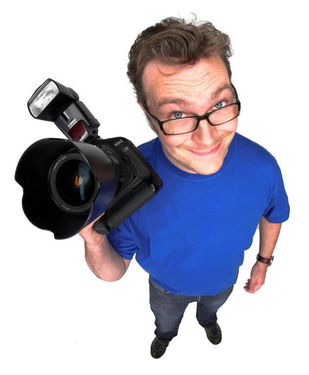 Mann mit Kamera (Fisheye)