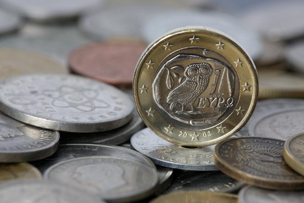 Euromünze auf Drachmen und Lepta