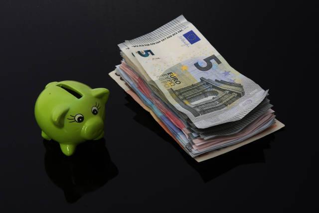Sparschwein mit Geldbündel