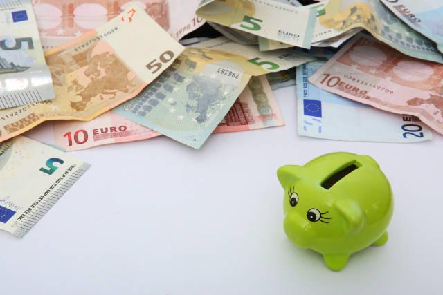 Sparschwein mit Geldscheinen