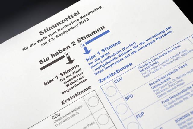 Stimmzettel + Bundestagswahl (2013)