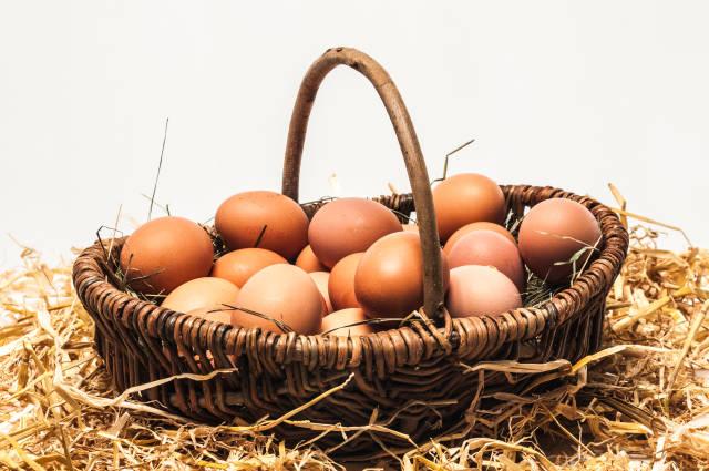 Eier im Körbchen