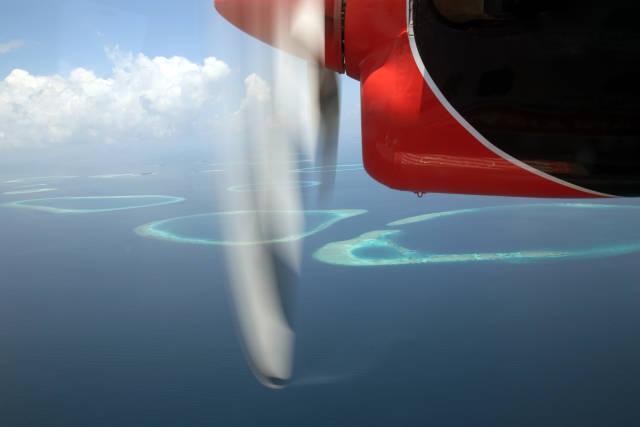 Malediven und Wasserflugzeug