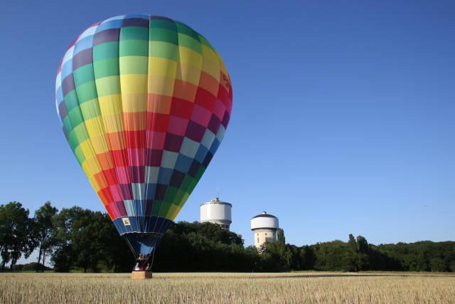 Heißluftballon Landung