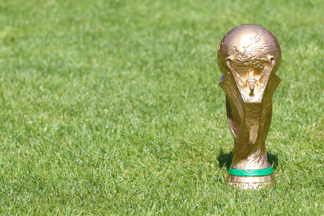 WM Pokal auf Rasen