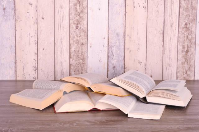 Bücher vor Holzwand