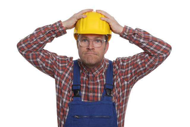 Verärgerter Bauarbeiter