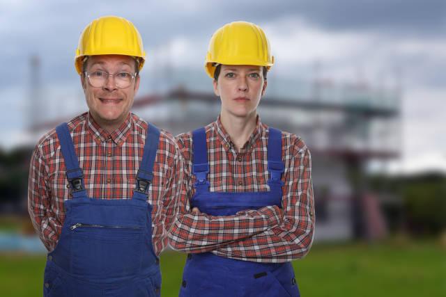 Bauarbeiter vor Baustelle