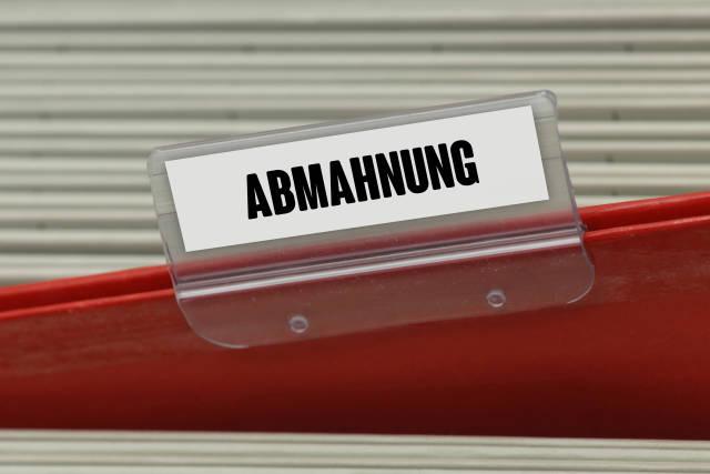 Hängeregister ABMAHNUNG
