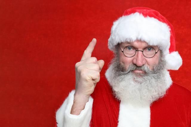 Weihnachtsmann mit Zeigefinger