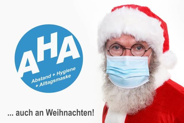 Weihnachtsmann und Hygiene-Regeln