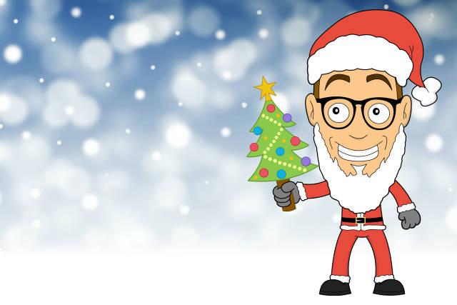 Comic Weihnachtskarte mit Nerd Weihnachtsmann