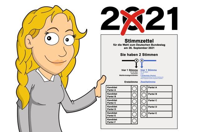 Stimmzettel zur Bundestagswahl 2020
