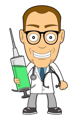 Arzt mit Impfspritze