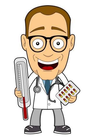 Arzt mit Fieberthermometer und Tabletten