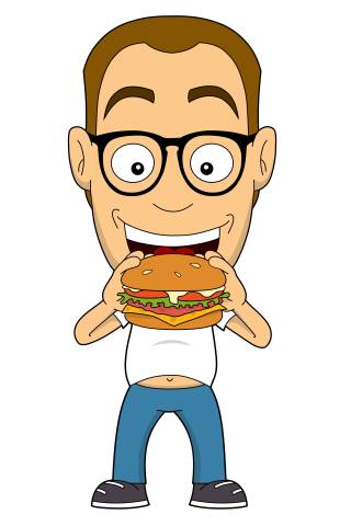 Nerd isst einen Burger