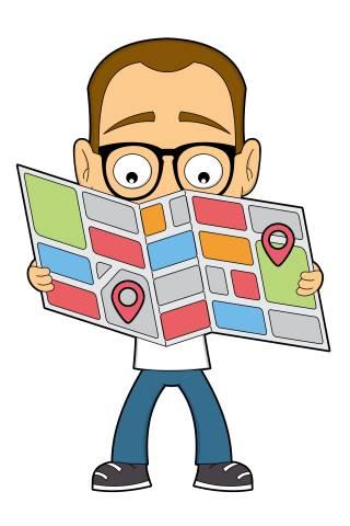 Nerd mit Stadtplan
