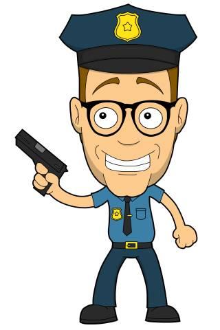 Nerd als US-Cop mit Pistole
