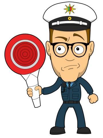Nerd als grimmiger Polizist