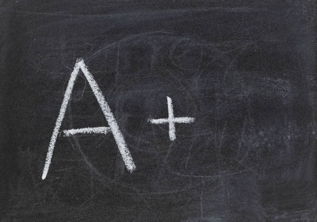 Chalkboard with A+ score written on it