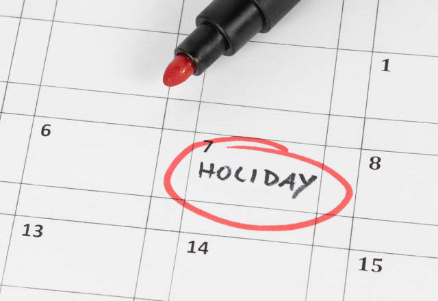 Holiday calendar showing rest day And break from work