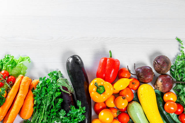 Assortment of ripe fresh summer vegetables for healthy nutrition