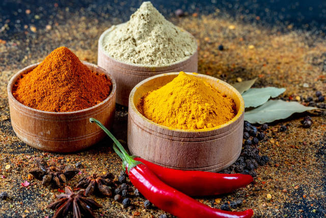 Indian spices of different colors
