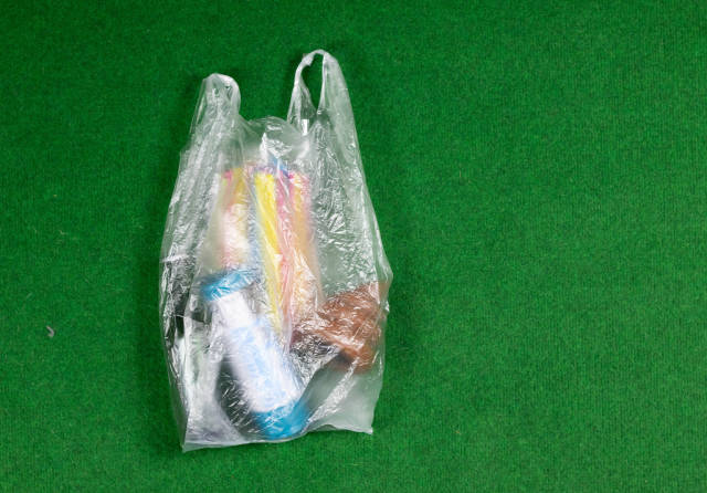 Shopping with plastic bags