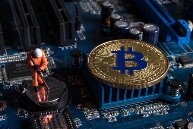 Bitcoin mining and crypto currency concept