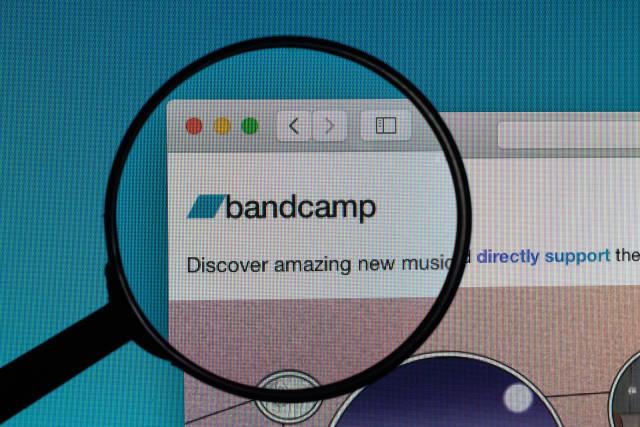 Bandcamp logo under magnifying glass