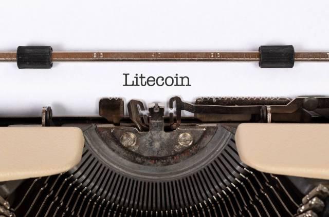 Litecoin printed on an old typewriter