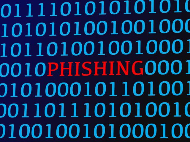Phishing red text between blue binary data on screen
