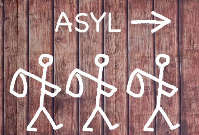 Asyl für Migranten hier entlang