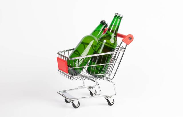 Beer bottles in shopping cart