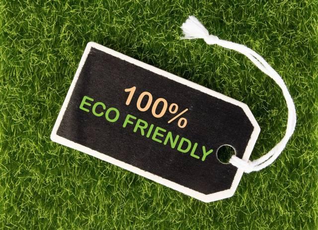 """Preisschild mit der bunten Aufschrift """"100% ECO FRIENDLY"""" (100% umweltfreundlich) auf Wiese"""