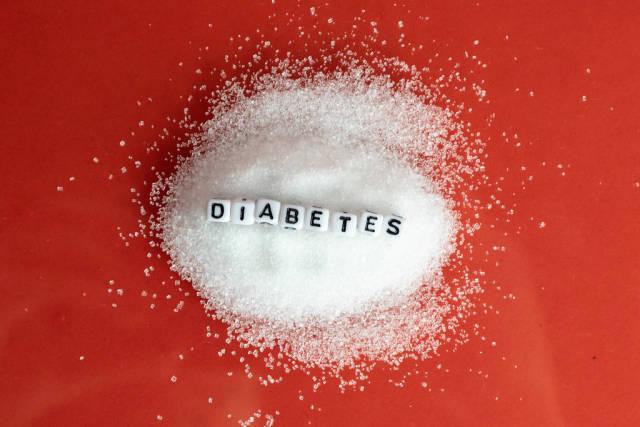 Diabetes text on sugar