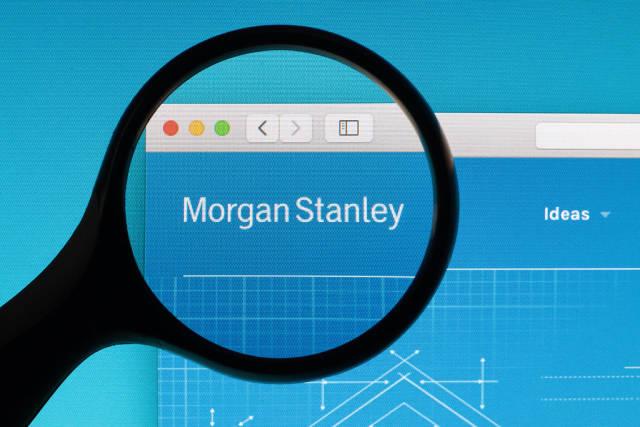 Morgan Stanley logo under magnifying glass