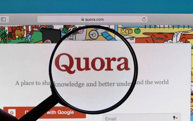 Quora logo under magnifying glass