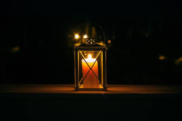 Candle lantern at night