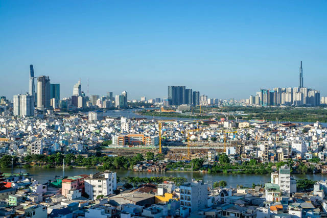 Ho Chi Minh City Viewpoint with Blue Sky