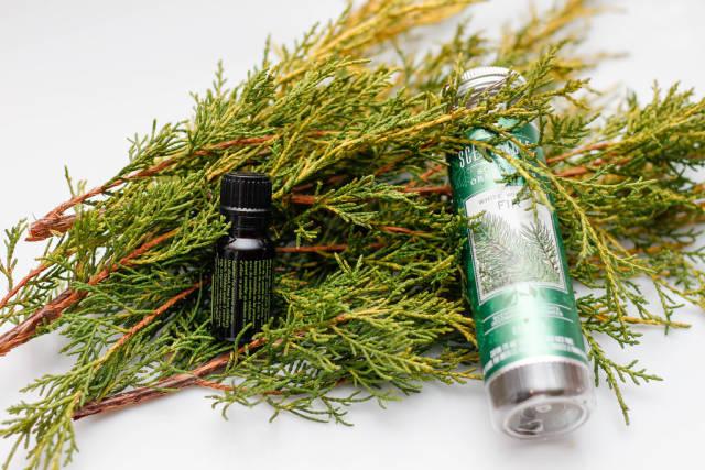 Ätherisches Öl mit Kiefer-Ast