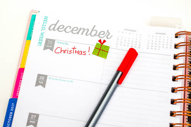 December 25 Page Planner with Red Pen