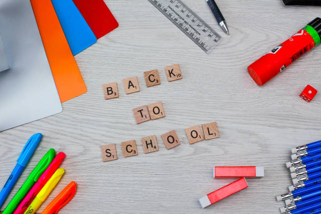 Back to School background with Pencil, erase and School equipment