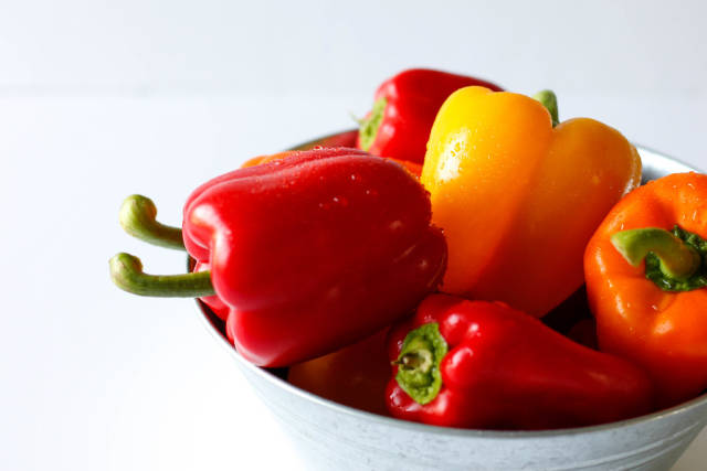 colorful peppers in a bow