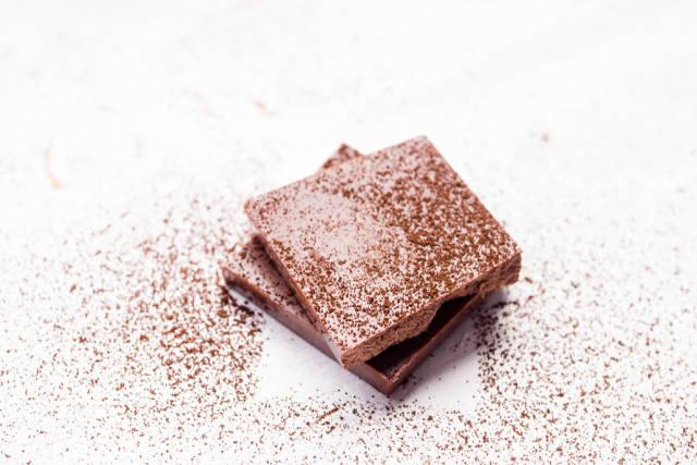 Chocolate chunks and cocoa powder
