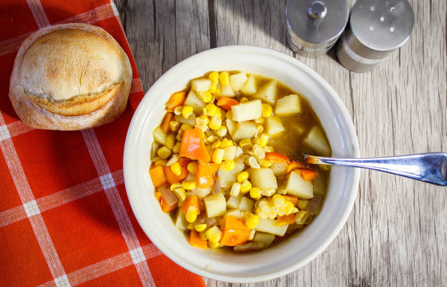 Corn soup close-up