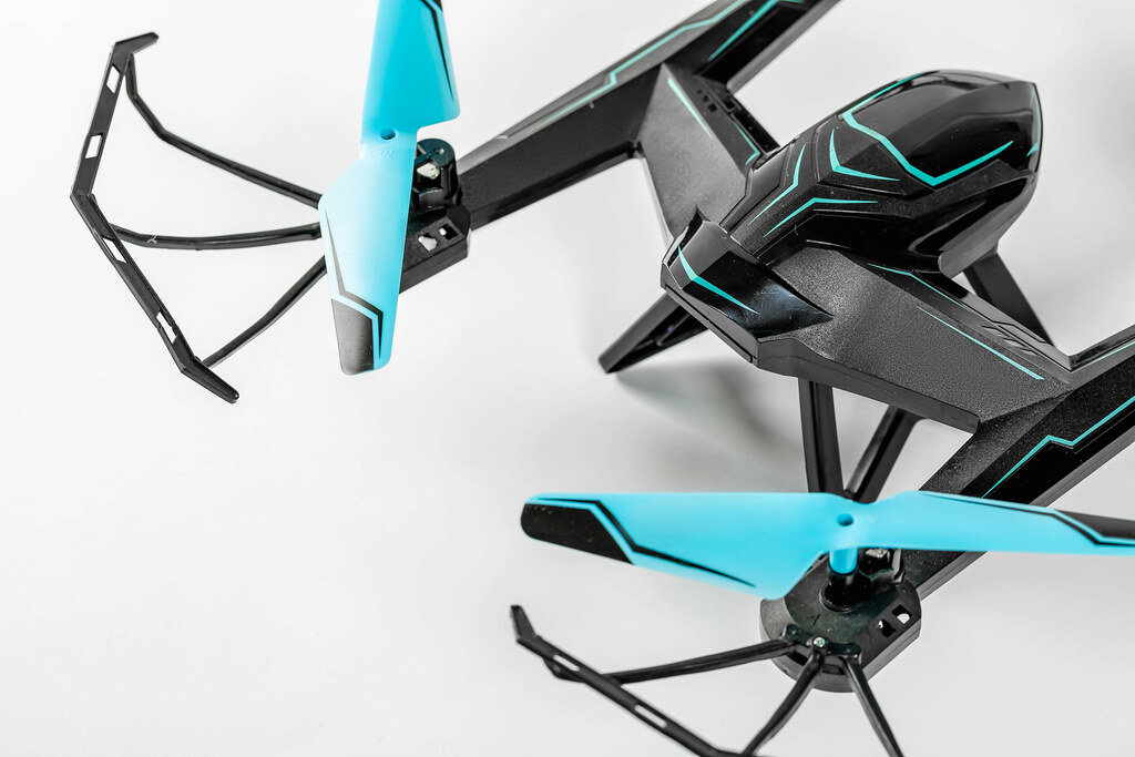 Flying helicopter drone close up