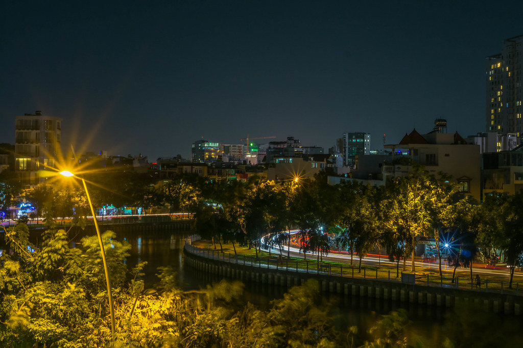 Night Photo of Traffic in Ho Chi Minh City