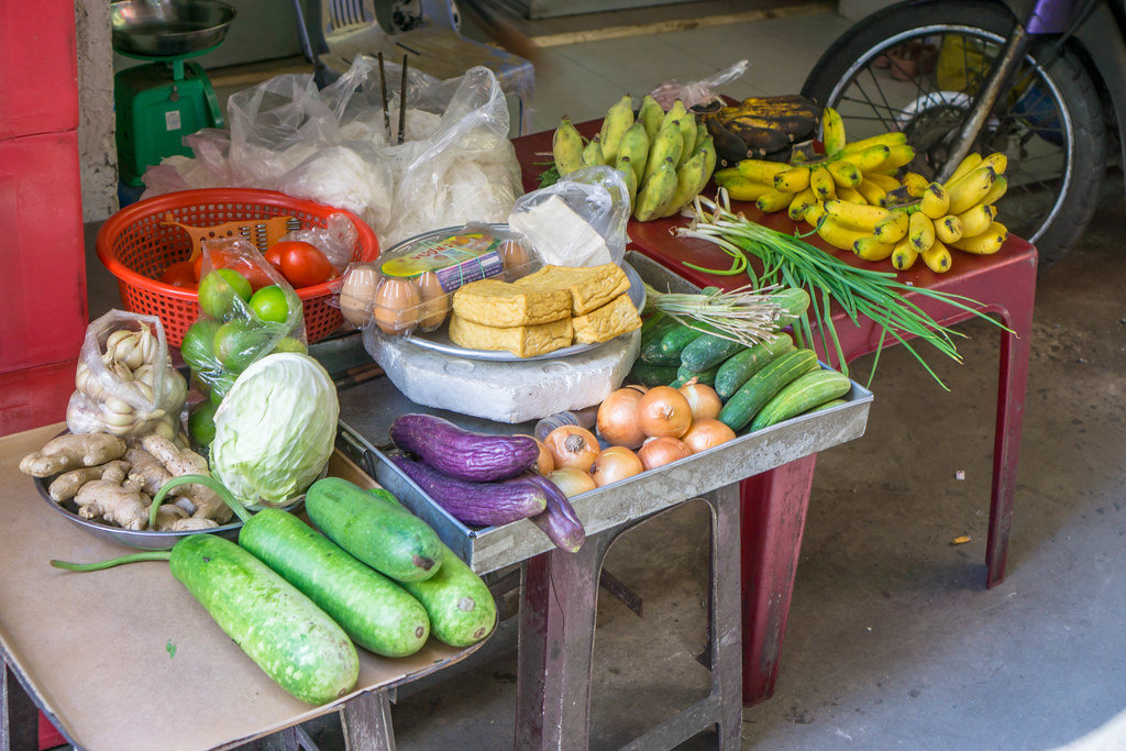 Vegetables and Tofu at a small Street Vendor in Saigon